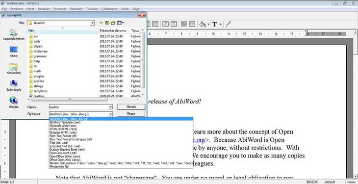 AbiWord formátumok