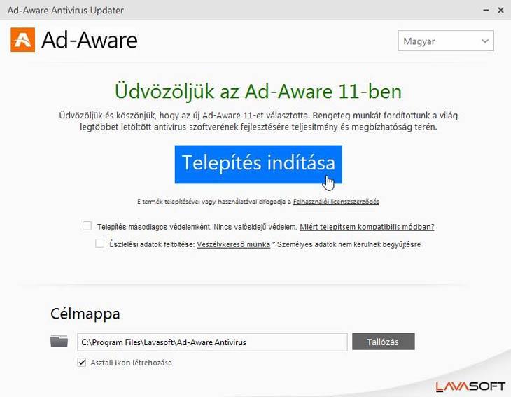 Ad-Aware Free Antivirus+ telepítés