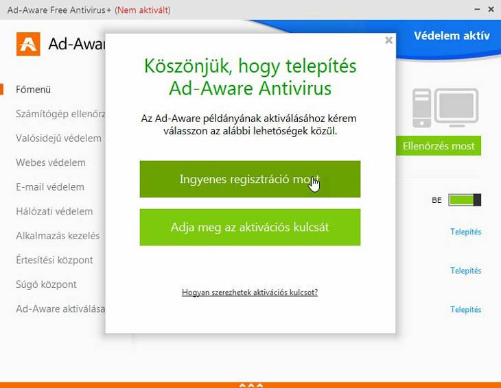 Ad-Aware Free Antivirus+ regisztrálás