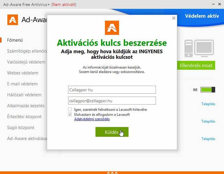 Ad-Aware Free Antivirus+ hírlevél
