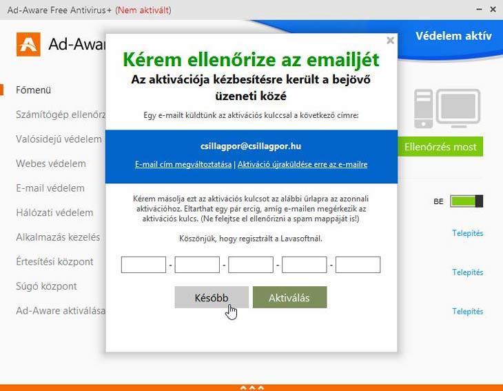 Ad-Aware Free Antivirus+ aktiváló kód