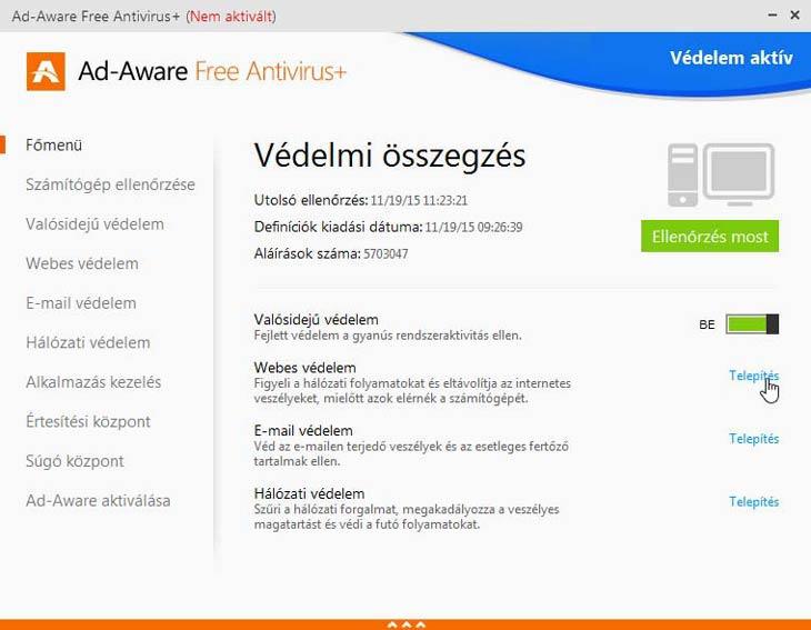 Ad-Aware Free Antivirus+ védelem
