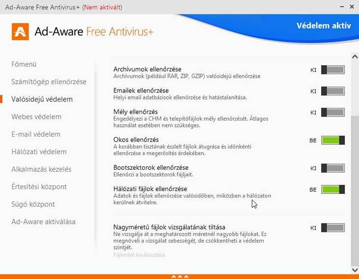Ad-Aware Free Antivirus+ védelem beállítások