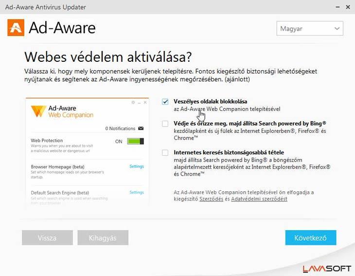 Ad-Aware Free Antivirus+ Bingtelenítés