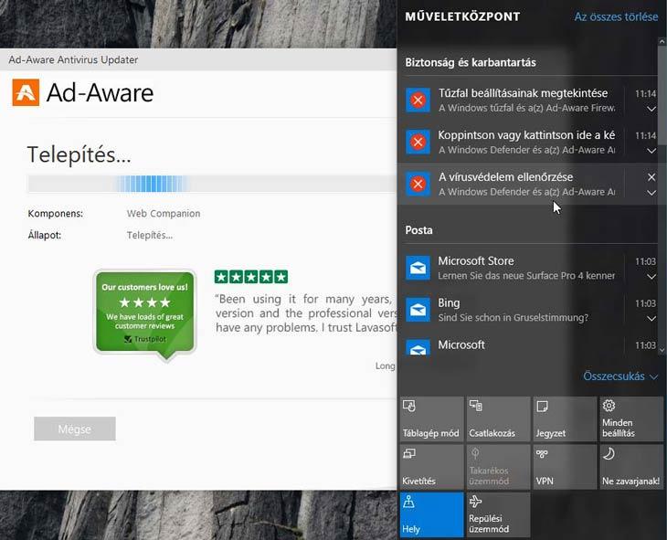 Ad-Aware Free Antivirus+ üzenetek
