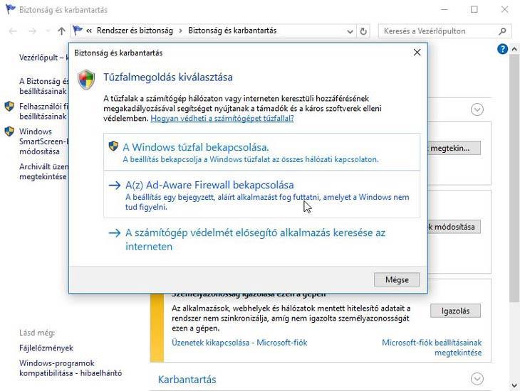 Ad-Aware Free Antivirus+ tűzfal bekapcsolása