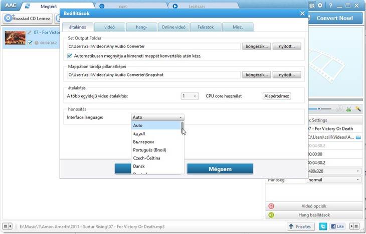 Any Audio Converter nyelvek beállítása