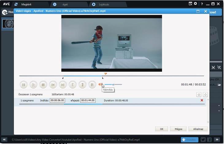 Any Video Converter videó vágás