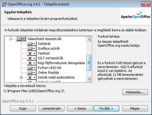 Apache OpenOffice választható
