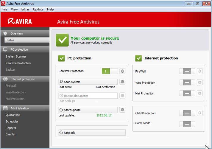 Avira Free Antivirus - elindult