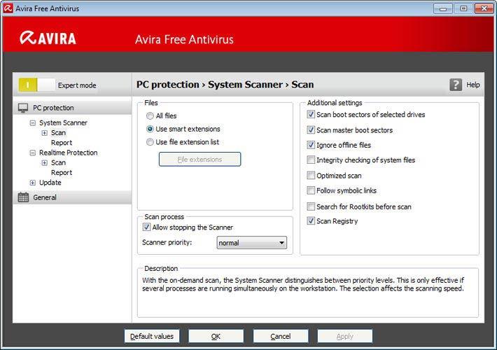 Avira Free Antivirus - vírus keresés beállítások