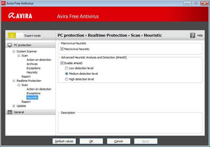 Avira Free Antivirus - valósidejű védelem
