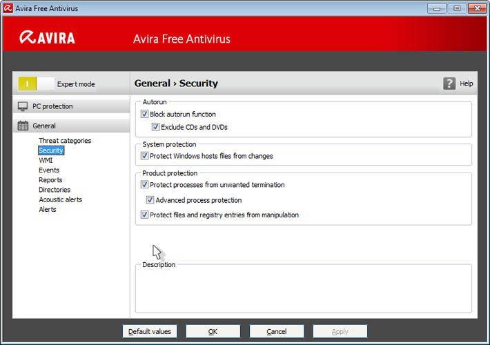 Avira Free Antivirus - szakértő beállítások