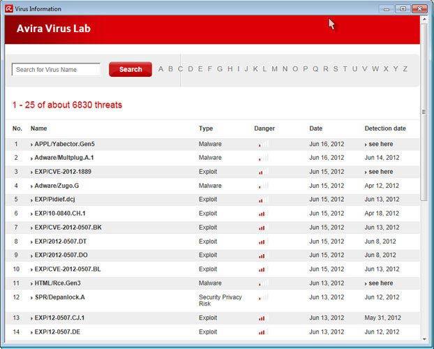 Avira Free Antivirus - vírus információk
