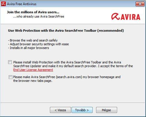 Avira Free Antivirus - ezeket ne telepítsük