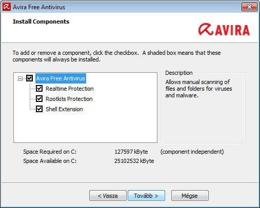 Avira Free Antivirus - összetevők