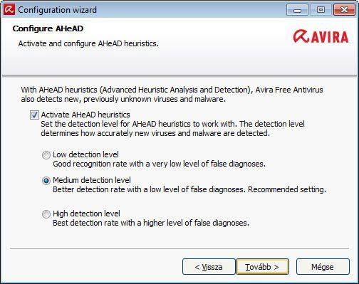 Avira Free Antivirus - heurisztikus védelem