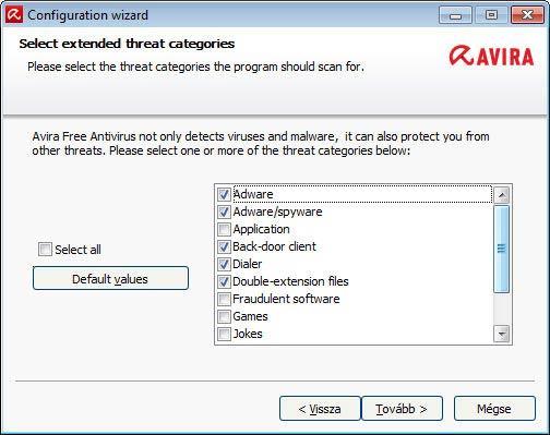 Avira Free Antivirus - kategóriák