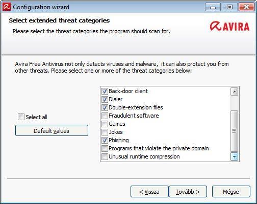 Avira Free Antivirus - bekapcsolva