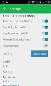 kamera backup és WiFi beállítások