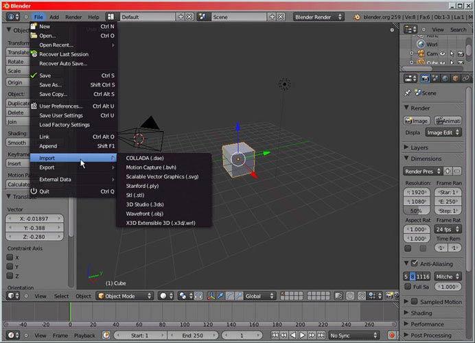 Blender 3D formátumok