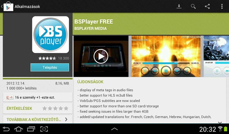 BSPlayer for Android telepítés