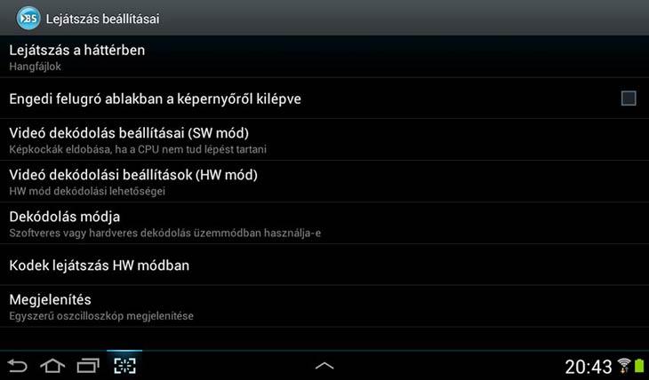 BSPlayer for Android lejátszás