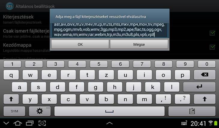 BSPlayer for Android kiterjesztések