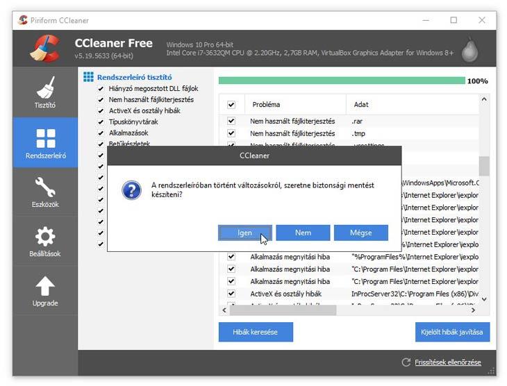 CCleaner registry biztonsági másolat
