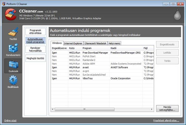 CCleaner automatikusan induló programok