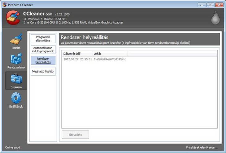 CCleaner rendszer helyreállítás