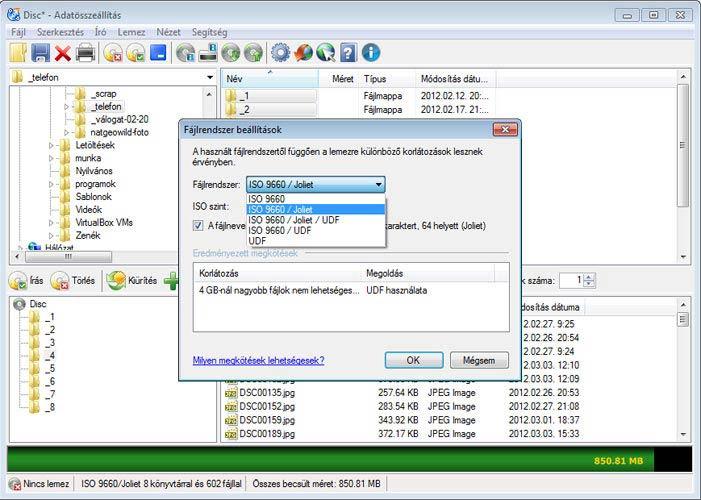 CDBurnerXP fájlrendszer