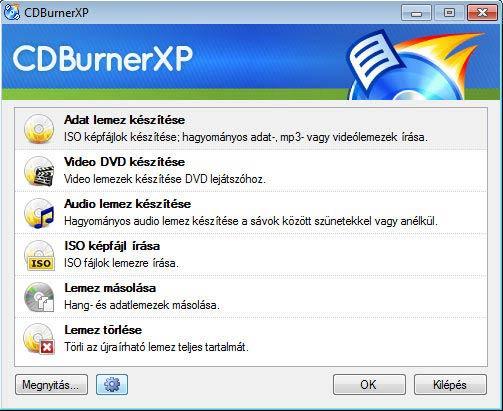 CDBurnerXP lemezek