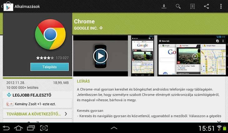 Chrome Androidra telepítés