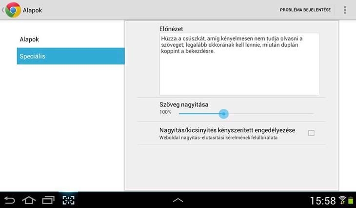 Chrome Androidra kisegítő lehetőségek