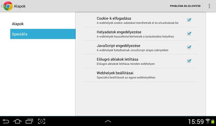 Chrome Androidra tartalmi beállítások