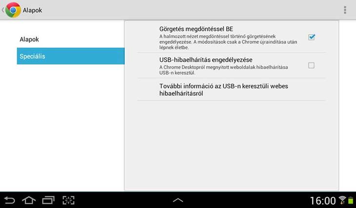 Chrome Androidra speciális