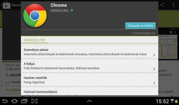 Chrome Androidra engedélyek