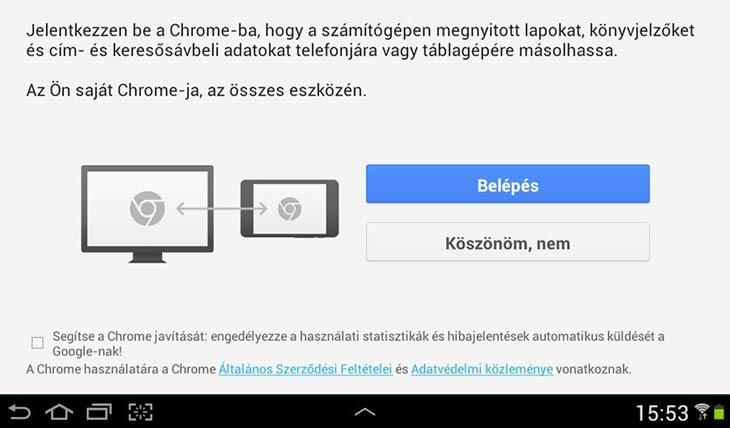 Chrome Androidra szinkronizálás
