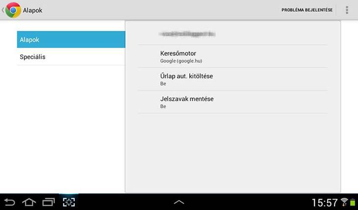 Chrome Androidra beállítások