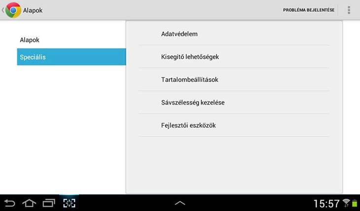 Chrome Androidra speciális beállítások
