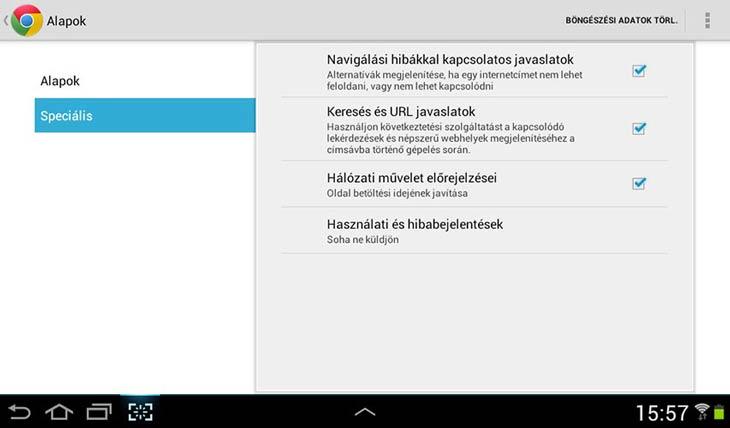 Chrome Androidra adatvédelem
