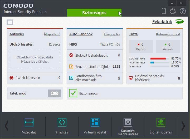 Comodo Internet Security új felület