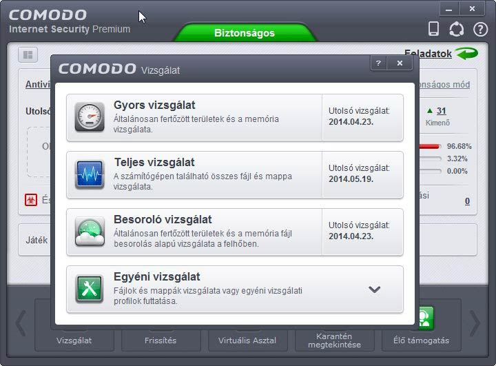 Comodo Internet Security vizsgálat