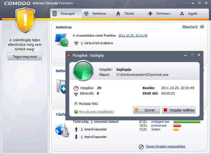 Comodo Internet Security teljes vizsgálat
