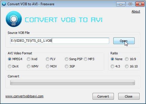Convert VOB to AVI forrásfájl