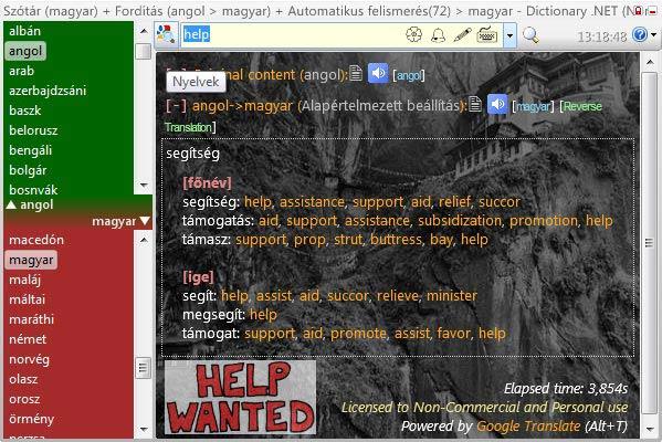 Dictionary .NET oldalsáv