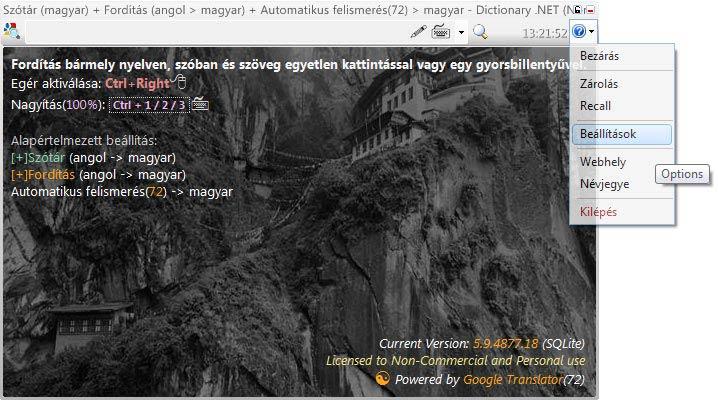 Dictionary .NET beállítások
