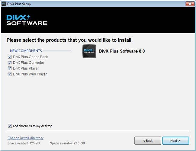 DivX Plus Software telepítés