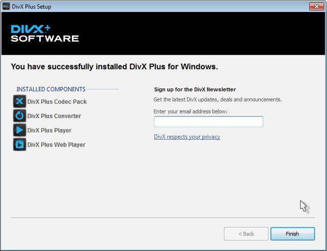 DivX Plus Software finish